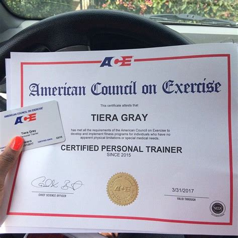 Tiera Gray has joined the ranks of ACE Certified Personal